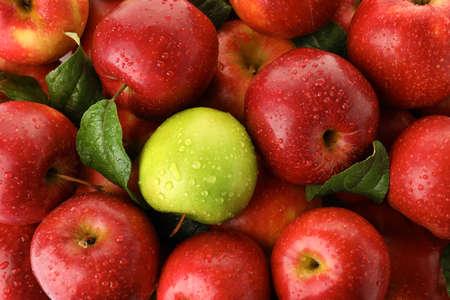 Grüner Apfel unter roten als Hintergrund. Sei anders Standard-Bild