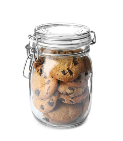 Jar with tasty chocolate chip cookies on white background