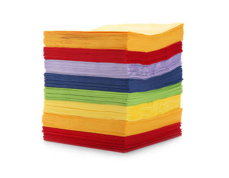 Stack of colorful paper napkins on white background Stok Fotoğraf