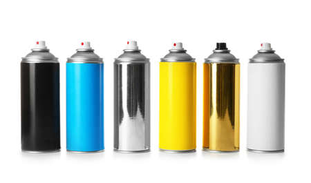 Cans of different spray paints on white background
