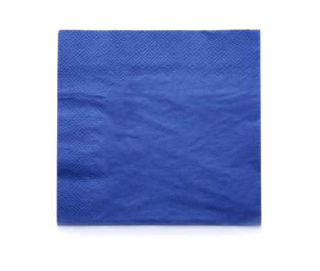 Paper napkin on white background, top view