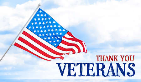 Text THANK YOU, VETERANS with USA flag against blue sky Stock Photo