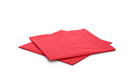 Clean paper napkins on white background. Personal hygiene Banco de Imagens