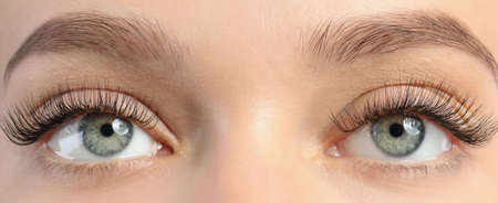 Closeup view of beautiful young woman with eyelash extensions Stock Photo - 112877536