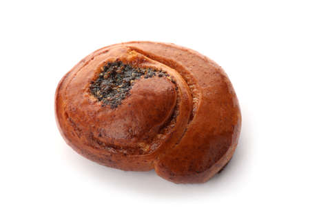 Freshly baked poppy seed bun isolated on white