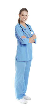 Full length portrait of young medical assistant with stethoscope on white background 版權商用圖片