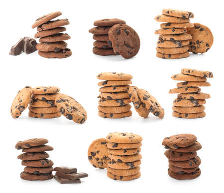 Set of different chocolate chip cookies on white background Stock Photo