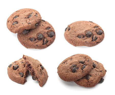Set of chocolate chip cookies on white background Stock Photo