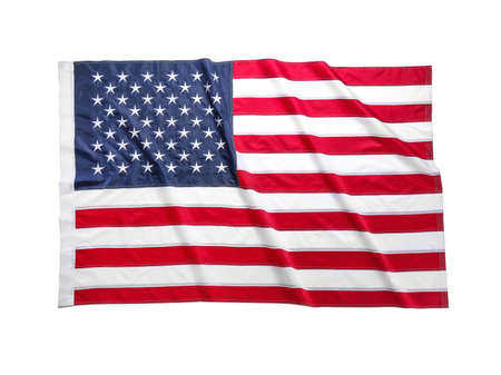 American flag on white background. National symbol of USA