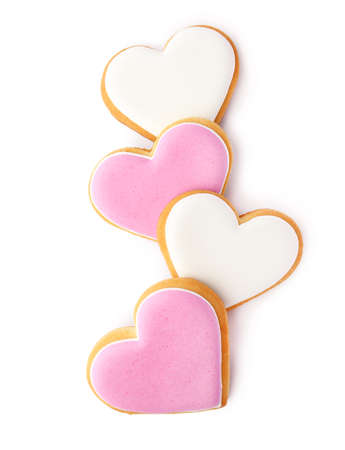 Decorated heart shaped cookies on white background, top view Archivio Fotografico