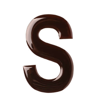 Chocolate letter S on white background, top view Banco de Imagens