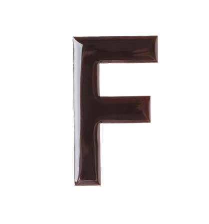 Letter F made of chocolate on white background Banco de Imagens