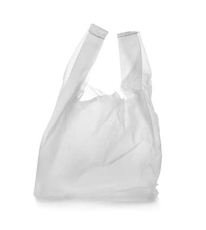 Clear disposable plastic bag on white background Фото со стока