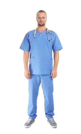 Full length portrait of medical assistant with stethoscope on white background