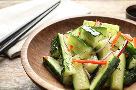 Plate with delicious cucumber salad on table, closeup Stok Fotoğraf