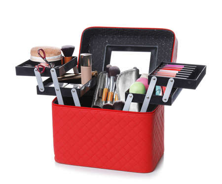 Stylish case with makeup products and beauty accessories on white background