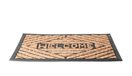Brown welcome doormat with pattern isolated on white