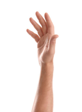 Man showing hand on white background, closeup