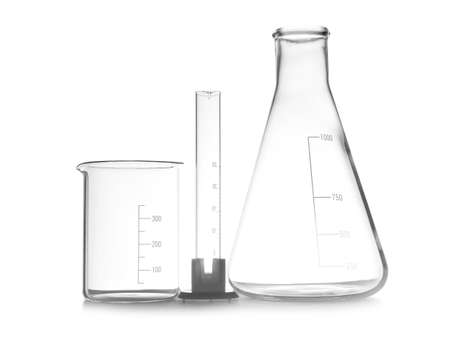 Empty chemistry laboratory glassware isolated on white Imagens