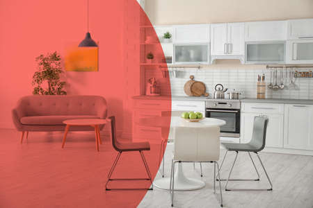 Stylish apartment interior with kitchen furniture and sofa. Idea for renovation and design with living coral color