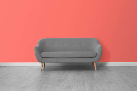 Stylish sofa near wall. Interior design with living coral color 免版税图像