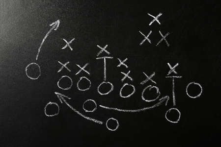 Chalkboard with scheme of football game. Team play and strategy Фото со стока