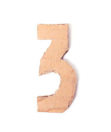 Number 3 made of brown cardboard on white background
