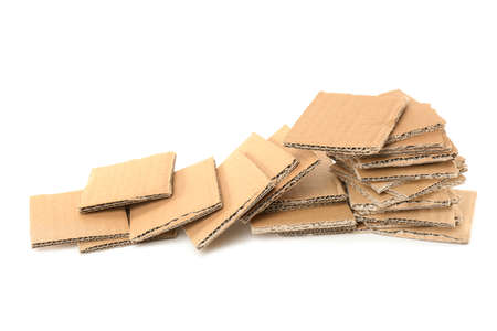 Brown cardboard on white background. Recyclable material 版權商用圖片