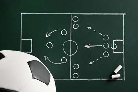 Chalkboard with football game scheme and soccer ball, top view