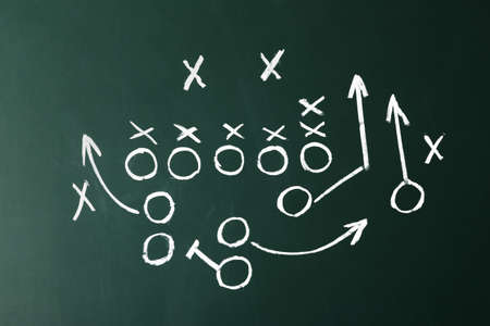 Chalkboard with scheme of football game. Team play and strategy Stockfoto