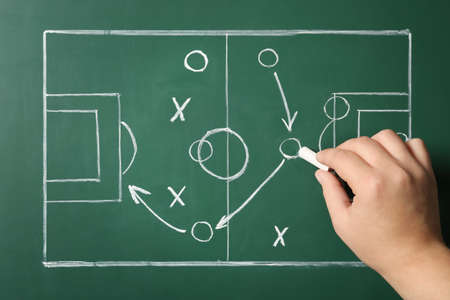 Woman drawing football game scheme on chalkboard, top view