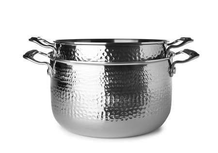 Modern metallic clean saucepans isolated on white
