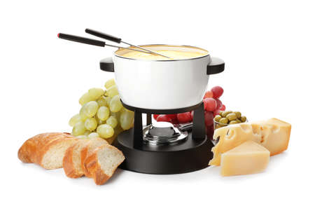 Composition with pot of delicious cheese fondue on white background Banque d'images