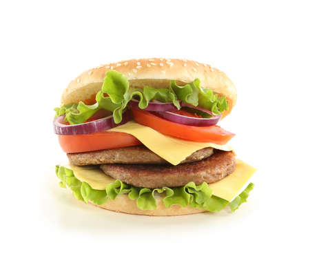 Tasty double burger with cheese on white background