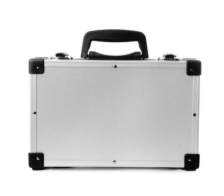 Stylish aluminum hard case on white background