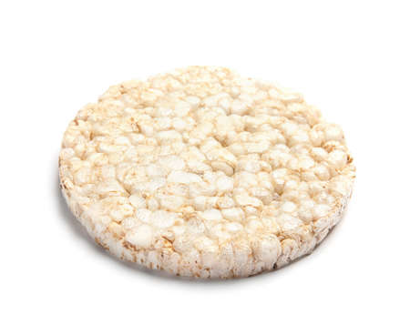 Crunchy rice cake on white background. Healthy snack Banco de Imagens