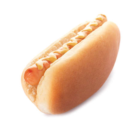 Tasty hot dog with mustard on white background
