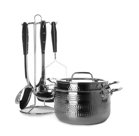 Clean saucepans and utensils isolated on white Stock fotó