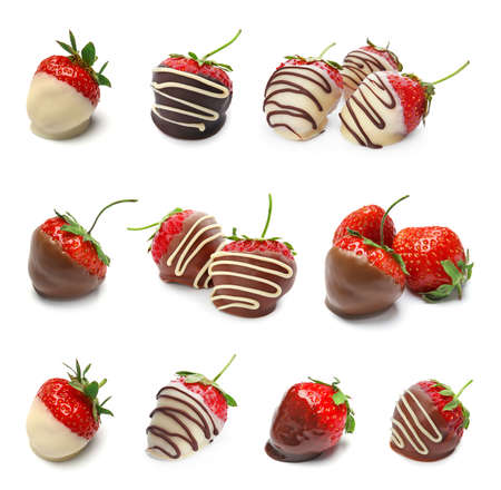 Set with chocolate covered strawberries on white background Stock fotó