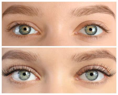Mujer joven antes y después del procedimiento de extensión de pestañas, primer plano