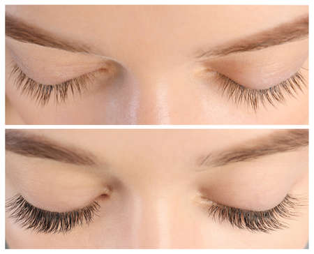 Young woman before and after eyelash extension procedure, closeup 版權商用圖片 - 114420451