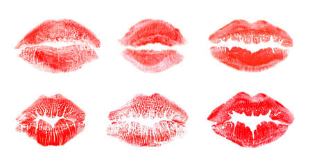 Set with color lipstick kiss marks on white background Banco de Imagens