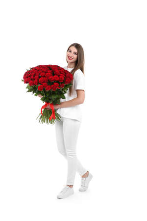 Full length portrait of beautiful woman with bouquet of roses on white background Stock Photo