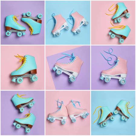 Conjunto con elegantes patines de cuatro ruedas sobre fondo de color, vista superior Foto de archivo