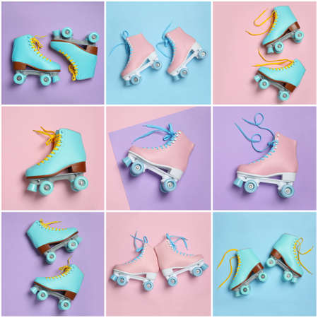 Set with stylish quad roller skates on color background, top view Banque d'images