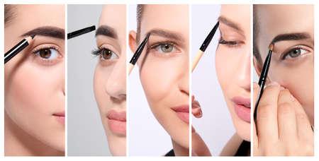Set with different beautiful women correcting eyebrow shape, closeup. Professional makeup artist Stock fotó