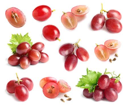 Zestaw ze świeżymi winogronami na białym tle