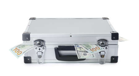 Hard case full of money on white background