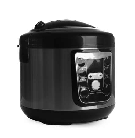 Modern electric multi cooker isolated on white Standard-Bild