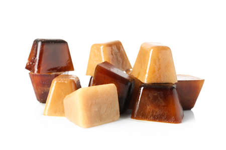 Ice cubes made with coffee on white background 免版税图像